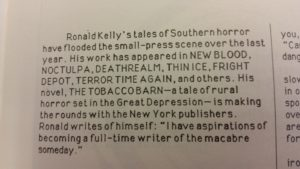Author blurb on Ronald Kelly provided by Cemetery Dance.