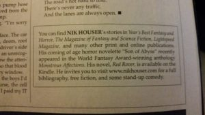 Author Blurb on Nik Nouser provided by Cemetery Dance