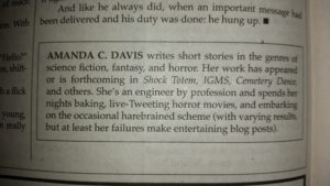 The author blurb on Amanda C. Davis provided by Cemetery Dance.