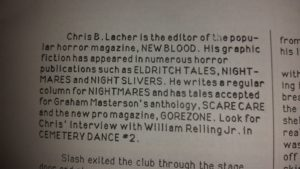 The author blurb on Chris B. Lecher provided by Cemetery Dance.