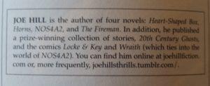 Author Blurb on Joe Hill provided by Cemetery Dance